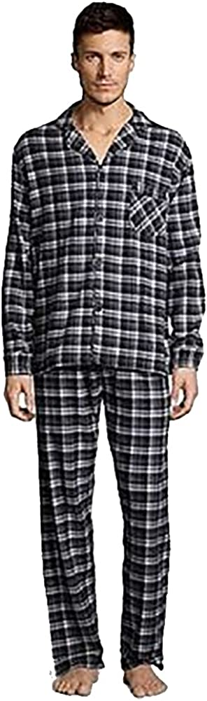 Hanes - Mens Flannel Plaid Sleep Lounge Pajama Pant Set