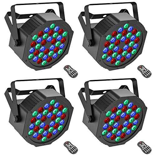 Donner 4 Packs 36 LEDs DJ Par Lights, Stage RGB Strobe Lighting with Remote Control and DMX Control, for Dancing/Wedding/Church/Birthday Gift/Christmas Party/Music Live Show