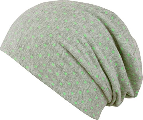 FEINZWIRN leichte Mütze mit Punkten und hohem edlen Viskoseanteil für Damen - absolut perfekte Mütze (grün-gepunktet)