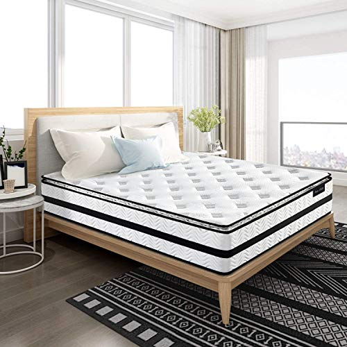 Isaac Pillow Top Series  122 Inch Innerspring Hybrid Queen Mattress/Bed in a Box Medium Firm Plush Feel  MultiLayer Memory Foam and Pocket Spring  CertiPURUS Certified/10 Year Warranty