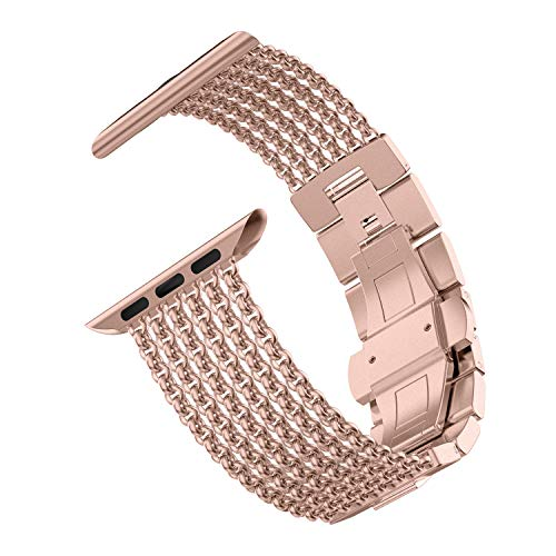 Wearlizer Compatible with Apple Watch Band 42mm 44mm for iWatch SE Series 6 5 4 3 Gold Womens Mesh Loop Chain Stainless Steel Wristband Beauty Metal Strap Chain Sleek Bracelet Series 2 1 Sport