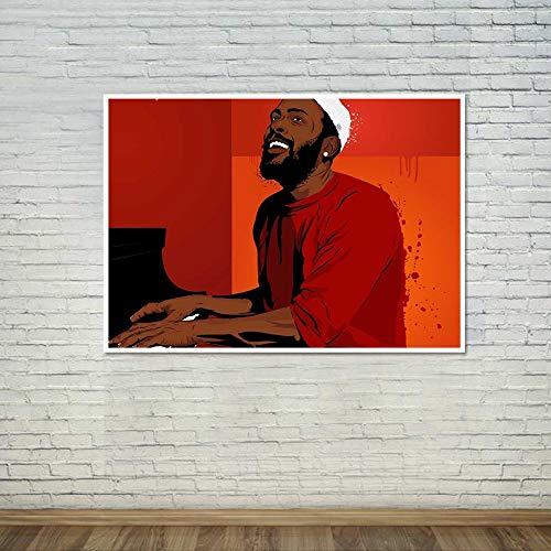wZUN Cartel Soul Music Cantante Estrella Pintura Arte de la Pared Carteles e Impresiones Lienzo decoración para el hogar imágenes 60x80 Sin Marco