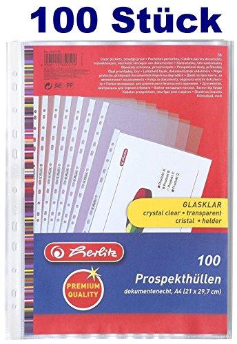 Herlitz 5850508 Prospekthülle Premium, A4 glasklar (A4, Transparent, 2x50, 100 Stück)