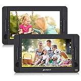 PUMPKIN Lettore dvd portatile doppio poggiatesta, schermo da 10.1 pollici con supporto, autonomia da 5 ore, AV IN/OUT/USB/SD/region free/ 18 mesi di garanzia