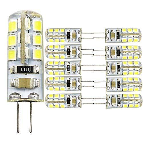 10 unidades 24 SMD 2835 G4 3 Walt LED bombillas de bajo consumo, blanco frío 6000 – 6500 K, CA 220 V, apto para dormitorio, pasillo, etc. Iluminación parcial
