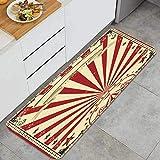 PUIO Juegos de alfombras de Cocina Multiusos,Circo Rojo Cartel Vintage tu espectáculo,Alfombrillas cómodas para Uso en el Piso de Cocina súper absorbentes y Antideslizantes