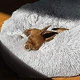 Panier rond chaud et apaisant d'hiver pour chien, chiot, avec coussin en fausse fourrure, lavable
