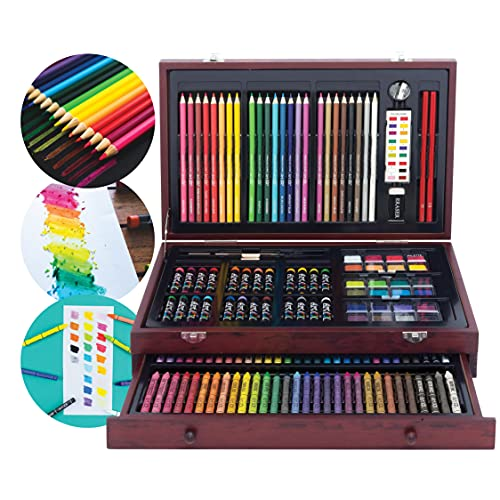 Art 101 Doodle and Color 142 Pc Art Set in a Wood Carrying Case, Includes 24 Premium Colored...