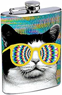 Cat with Trippy Glasses Have Fun Gifts Elegant Fine Touch Leak Proof Small Primo 18/8 Stainless Steel 8 OZ Flask with Personality Design Cat gift for cat lover for men and women