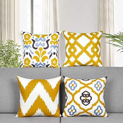 Elloevn 4er Set Gelbe Kissenbezüge 45x45 cm, Geometrisch Moderne Deko Kissenhülle Blumen Muster, Dekorative Frühling Sofakissenbezug Sitzkissen für Schlafzimmer Wohnzimmer