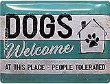 Nostalgic-Art Cartel de Chapa Retro Dogs Welcome – Idea de Regalo para los dueños de Perros, metálico, Diseño Vintage para decoración, 30 x 40 cm