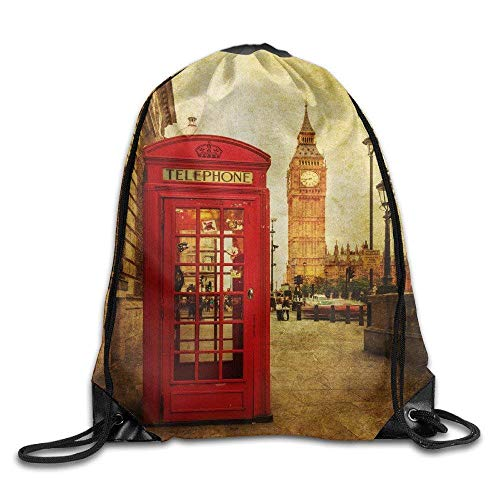 DHNKW London Phone Box Youth Drawstring Sport Large Lightweight Sackpack
