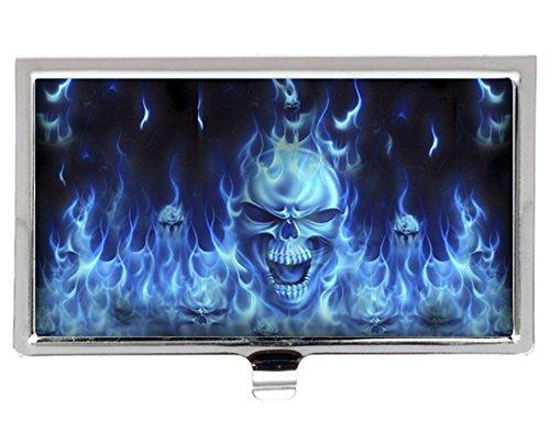 Visitenkartenhalter aus Edelstahl mit blauer Flamme und Totenkopf, modisches Design, personalisierbar