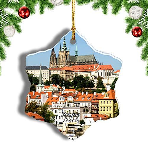 Weekino Czech Prague Castle Prague Christmas Ornament Travel Souvenir Tree Hanging Pendant Decoration Porcelain 3' Double Sided