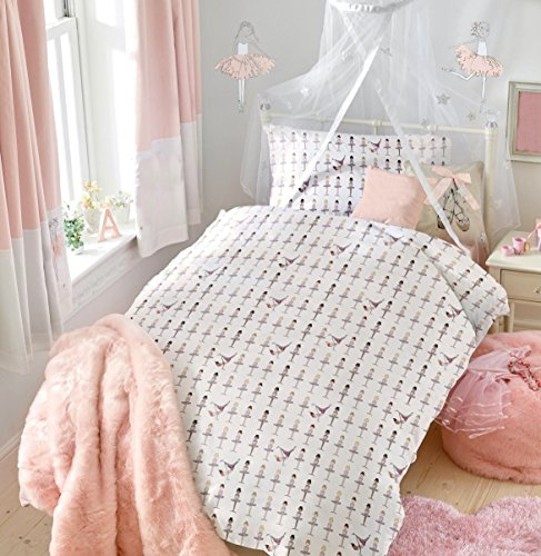 Where The Polka Dots Roam Twin Ballerina Dancers Duvet Cover Bedding Set for Girls Bedding - Double Brushed Microfiber (68