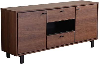 Marque Amazon - Movian Ljungan Buffet de rangement à 2portes et 2tiroirs, 165x40x76cm, Finition effet noyer