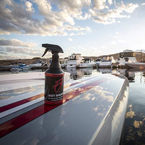 Boat Bling Hot Sauce Premium Hard Water Spot Remover w/High-Gloss Wax Sealants, 32 oz.