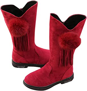 Hopscotch Girls PU Pom Pom Applique Ankle Length Boots in Red Color
