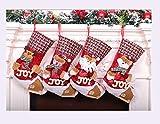 CUTEY Calcetines De Navidad De Decoración, 4 Piezas De Calcetines De Navidad, Calcetines De Navidad con Muñeco De Nieve, Viejo, Ciervos, Osos, Adecuado para La Decoración del Hogar,Rojo