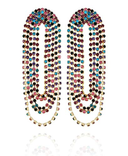 Pendiente de cadena de diamantes de imitación multicolor