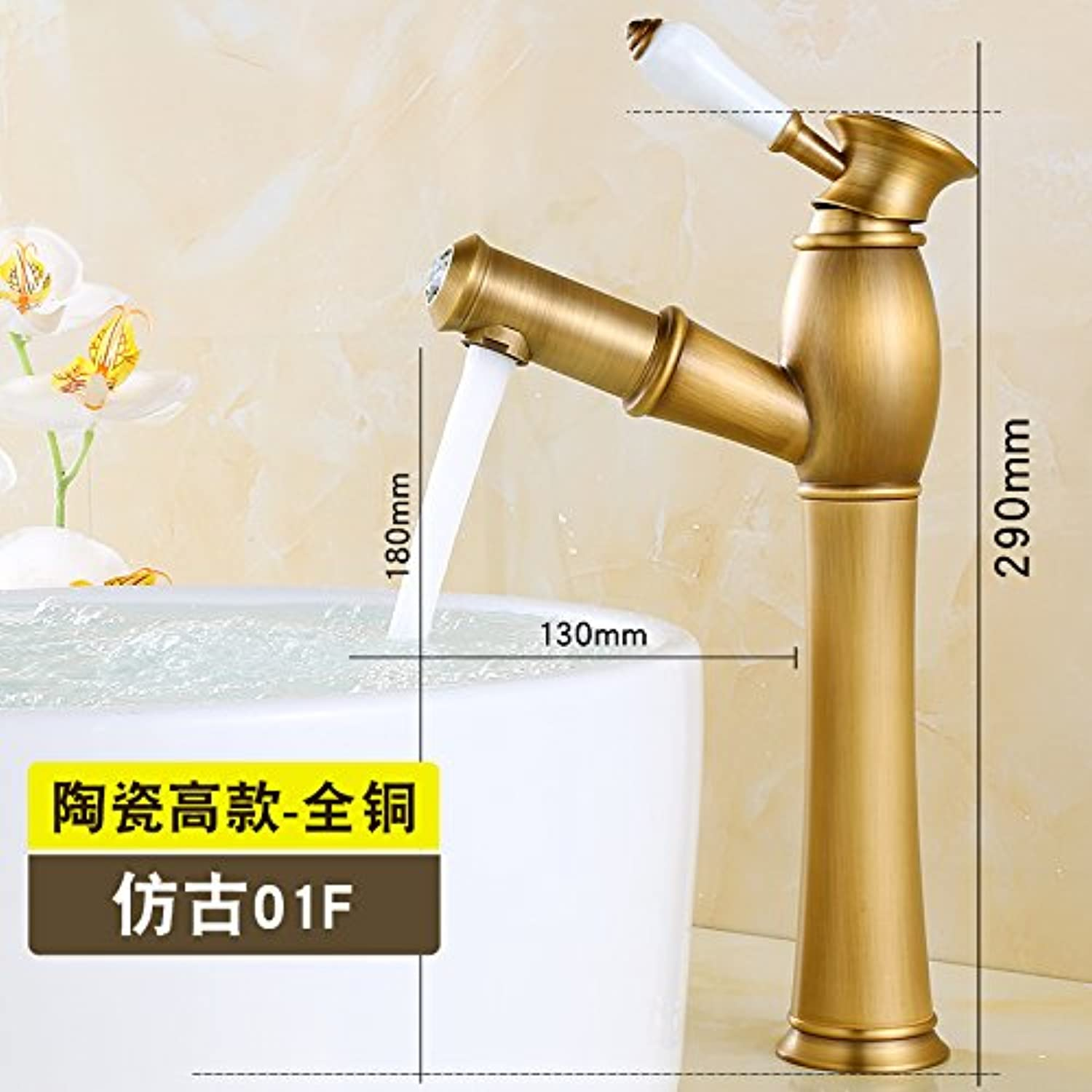 SADASD Contemporary Bathroom Full Copper Basin Faucet Scale gold Pull Double Pull-Down White Ceramic High-Basin Sink Mixer Tap Ceramic Valve Core Cold Water With G1 2 Hose