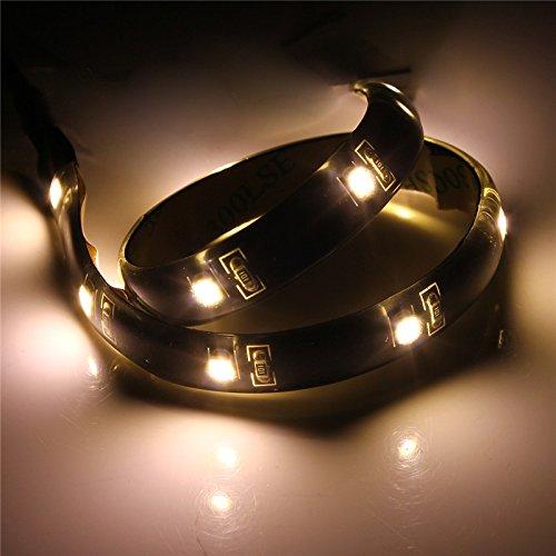 MASUNN LED Strip 30 cm Light 3528 Imperméable À l'eau avec Câble Port USB Super Bright DC 5V-Blanc Chaud