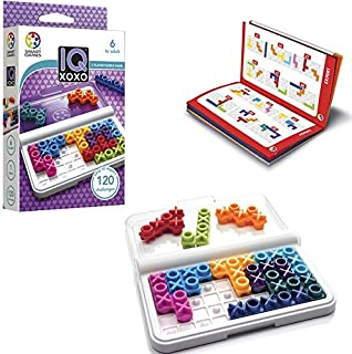 SmartGames IQ XOXO, a Travel Game for Kids and Adults, a Cognitive Skill-Building Brain Game - Brain Teaser for Ages 6 & Up, 120 Challenges in Travel-Friendly Case.