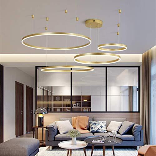 LED eettafellamp hanglamp kroonluchter woonkamer dimbaar met afstandsbediening modern creatief hanglamp ring rond aluminium acryl plafondlamp eetkamer hanglamp modern 4laps40+60+80+100cm goud