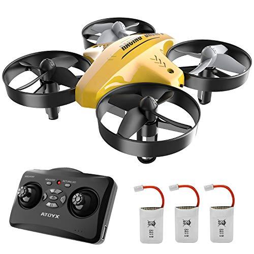 ATOYX Drohne für Kinder, 3D-Flip, helikopter ferngesteuert, 3 Batterien, helikopter ferngesteuert (Gelb)