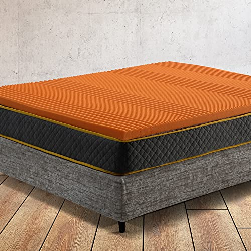 Comfy Line - Topper Singolo 80x190 per Materasso in Memory Foam 5,5 cm Lavorazione a 7 zone - Interno da Ricambio Correttore con Schiuma Certificata - Made in Italy