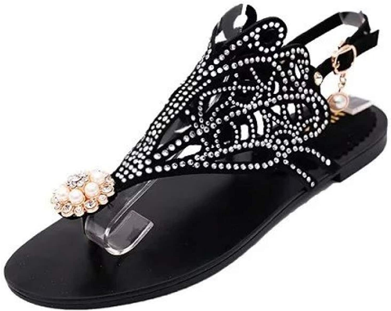 Btrada Women Flat Sandals Summer Vintage Style Rhinestones Clip Toe Ankle Strap Fashion Beach shoes