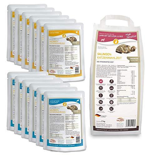 SALiNGO Katzenfutter nass und trocken Probierpaket | sensitiv | zuckerfrei | für Sensible Katzen