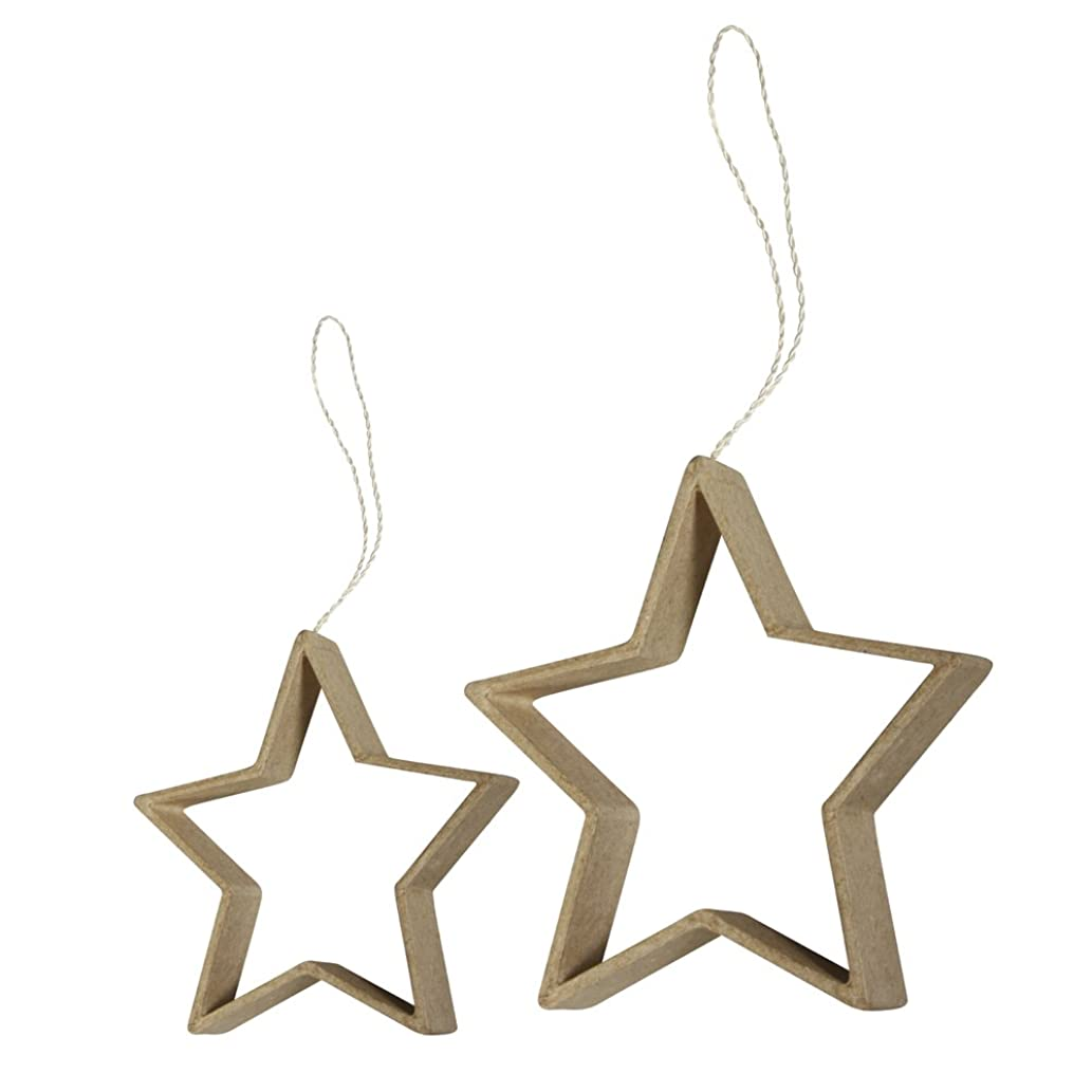 Rayher Paper with Quilling Hanger Stars, Brown, 8 x 8 x 1.5 cm, 6-Piece