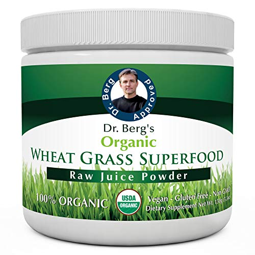 Dr. Berg's Wheat Grass Superfood Powder - Raw Juice Organic Ultra-Concentrated Rich in Vitamins & Nutrients - Chlorophyll & Trace Minerals - 60 Servings - Gluten-Free Non-GMO - 5.3 oz (1 Pack)