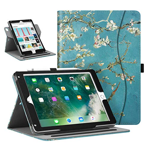 Fintie Case for iPad 9.7' 2018/2017, iPad Air 2 / iPad Air - [Corner Protection] 360 Degree Rotating Smart Stand Cover with Pocket, Pencil Holder, Auto Sleep/Wake for iPad 6th / 5th Gen, Blossom