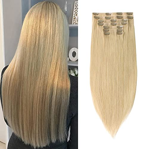 Sixstarhair Clip In Hair Extensions Human Hair Blonde Extensions Honey Blonde Hair Extensions 120g Remy Hair Extensions Sew In with Clips 8 Pieces Pack