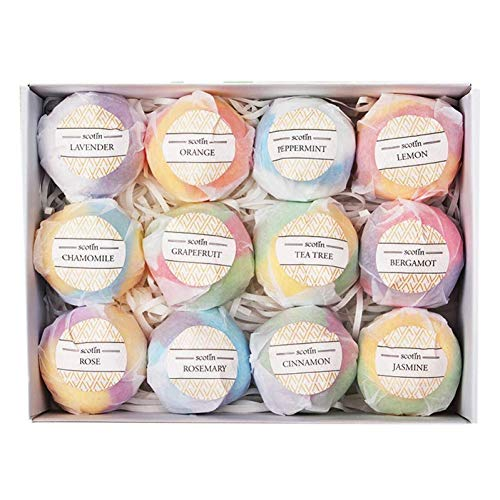12pcs Organic & Natural Bath Bombs, Handmade Bubble Bath Gift Set, Rich in Essential Oil, Fizzy Spa to Moisturize Dry Skin Gift for Women