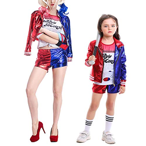 Hivia Joker Kostüm Damen Mädchen Harley Quinn Jacken, Hosen und T-Shirts Mama und Tochter Kleidung Cosplay