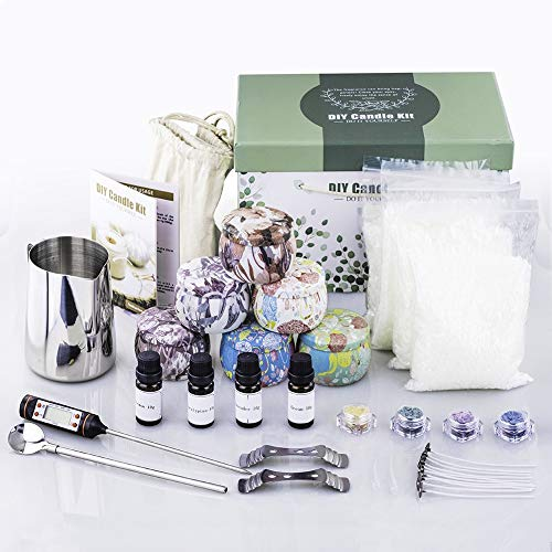 DIY Candle Making Kit Supplies, DIY Candle Making Set for Scented Candles Art and Craft Supplies with Bee Wax Bags, Fragrance Oils, Candle Tins, Melting Pot and More