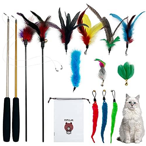 14 Piezas Juguete Plumas Gato,Ubephant Juguetes para Gatos,2 Juguetes de caña de Pescar retráctiles, 2 Juguetes de Palo Fijo para Gatos, 10 Juguetes de Plumas reemplazables (Campanas)