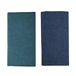Alif_Laila Mens Cotton Checkered Pattern Handloom Lungis (Green and Blue, Free Size)