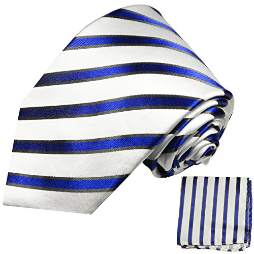 Cravate bleu rayé ensemble de cravate 2 Pièces (longueur 165cm)