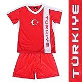 Roomando Kinder Fussball Trikot Türkei Oberteil + Hose mit Aufdruck 98-152 (146-152)