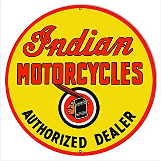 Victory Vintage Signs Indian Motorcycle Authorized Dealer Metal Sign 24