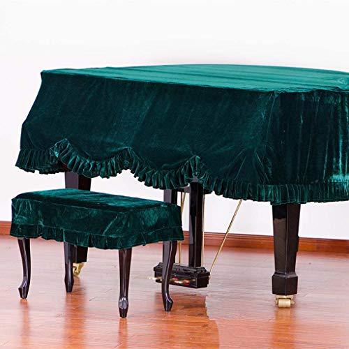 Grand Piano Cover, Classic Premium Samt Möbel Staubschutz Handgemachte Plissee Trim Standard-Klavier-Abdeckung Hauptdekoration, (Verschiedene Größen) ( Color : Green , Size : 180cm+Single Stool )