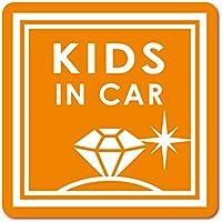 imoninn KIDS in car ステッカー 【マグネットタイプ】 No.26 ダイアモンド (オレンジ色)