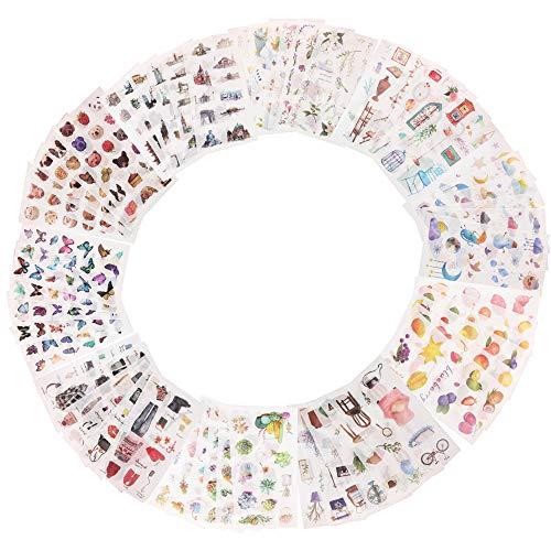 60 Hojas Pegatinas para álbumes de Recortes,Adhesivos para álbumes de Recortes, Pegatinas para álbumes de Fotos DIY, Patrón de Flores para álbumes de Recortes,Manualidades,Tarjetas de Felicitación