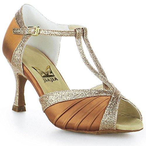 JIA JIA Y20519 - Sandali da donna con tacchi svasati, super satinati, con glitter scintillanti, in latino, Marrone (marrone), 40 EU