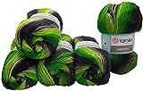 5 ovillos de 100 g YarnArt Ambiance multicolor con degradado, 500 gramos de hilo para tejer con 20% de lana (gris, verde y verde kiwi 156)
