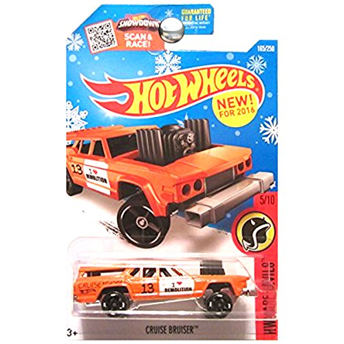 Hot Wheels 2016 Exclusive Snowflake Card, HW Daredevils, Cruise Bruiser [Orange] Die Cast Vehicle #165/250